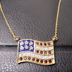 American Flag Necklace Rhinestone Pave gold tone
